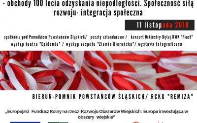 Obchody 100-lecia odzyskania niepodległości przez Polskę w Bieruniu